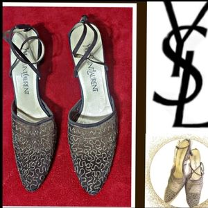 COPY - YSL Pewter Leather Ankle Strap Mesh Heel